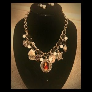 Victorian Cameo with locket & charms necklace